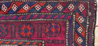 A Luri/Bakhtiari flatwoven (soumak) half khorjin bagface  4.9ft x 1.6ft. (150 x 50 cm.) early 20 th. century.