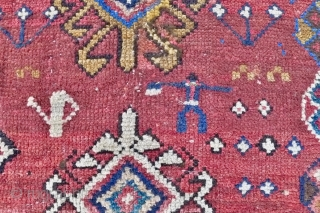 Genje Rug,  5.4ft x 4 ft. (166 x 120 cm.) circa 1880.  Distinctly nomadic Genje rug, rather coarse and loosely woven  on a primitive loom. The madder red   ...