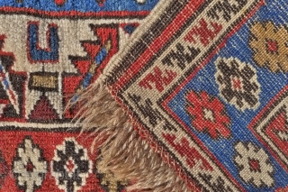 A Zejwa rug, also known as Alikhanly Kuba, 155 x 125 cm (5.1ft x 4.1ft) circa 1900. The design with three large sunburst medallions. These fine Kuba rugs originated from a small,  ...