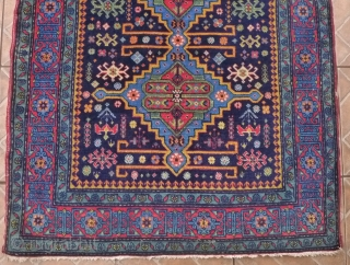 An Ugakh Kuba Rug, Divichi district, Azerbaijan. 158 x 96cm. (5.2ft x 3.15ft) ca. 1920/30 The dark blue field with