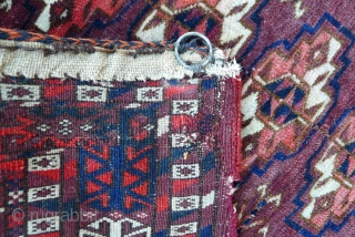 Tekke Chuval, 115 x 70 cm. late 19 th. century. The design with 5 x 6 rows of chuval guls. Very fine weave with about 5,400 knots per sq. dm. (83,700 KPSI,  ...