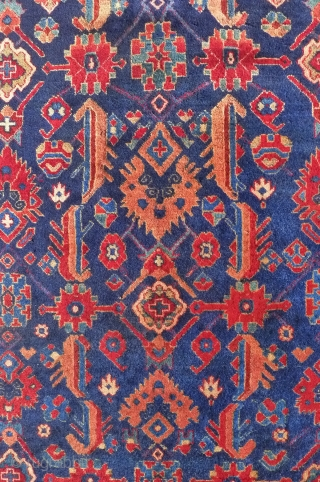 Zagly Kuba rug with an attractive variation of the Afshan pattern, 190 x 145 cm. circa 1930.