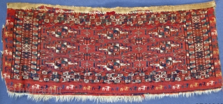 Finely woven Tekke Mafrash with wonderful goat procession border;