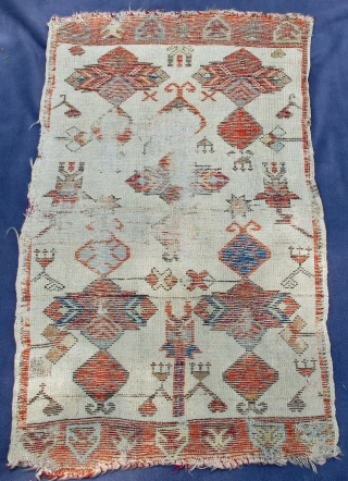 """Ancient Yastik showing designs of archaic Turkmen jewelry, early natural beautiful dyes, 34"""" X 25""""[87 X 62cm]"""
