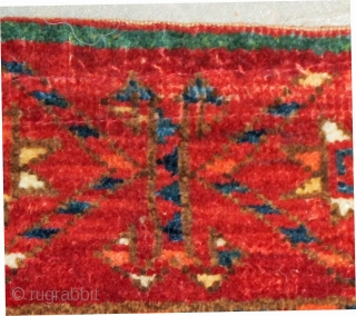 """Large Beshir Chuval, excellent pile, natural colors, note the emerald green stripe across the top of the piece, 19th. century, 53"""" X 38""""[135 X 96cm]"""