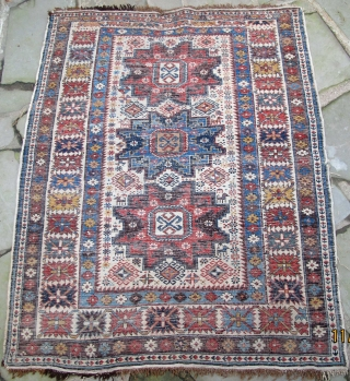 """Finely woven Daghestan, Caucasus, original selvedges, original kelim end finishes with knotted warps, plethora of natural dyes including a wonderful maroon,19th. century, 56"""" X 45""""[143 X 114cm]"""