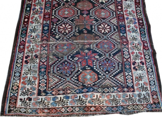 """Late 19th century Persian Kurdish, dated 1314, which after conversion dated 1897. It has extensive wears, but easily could be restored. Measures 3'-10"""" x 7'-11''"""