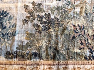 """Fabulous 10'-6"""" x 15'-8"""" 16th -17th-century French Tapestry. The entire main border is our silk and the field is a combination of both wool & silk, it is in amazing condition for  ..."""
