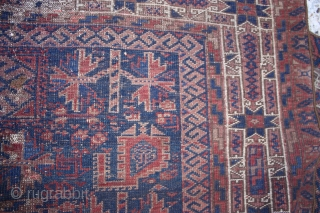 Antique Belouch Rug  Size cm:135 x 85, Size ft:4'6 x 2'10, Code No:R3855,  Antique Oriental Rug: This rug is over hundred years old and some minor damage