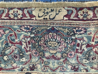 A PERSIAN TEHRAN CARPET. Size:420x280 Cm.Low pile condition.. Some places are better pile. Carpet not washed yet. Lovely colors and nice turquoise bordure.. Available...