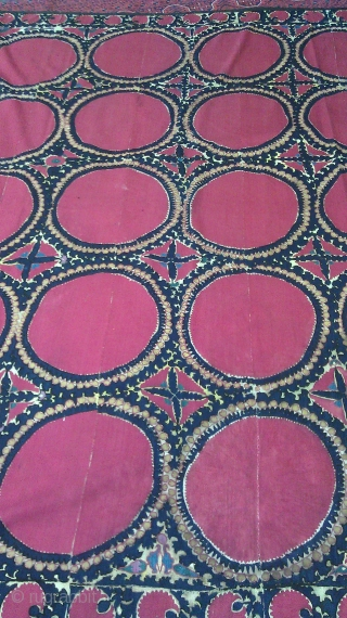 Antique Suzani Textile   COUNTRY:Uzbekistan DATE OF MANUFACTURE:19th C. MATERIALS:Silk embroidery on cotton ground. CONDITION:Excellent