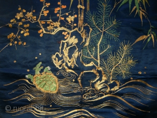 Silk embroidered fukusa (gift covering cloth), good-for-any-occasion motifs of The Three Friends ~ Pine, Bamboo & Pine, longevity symbols the crane and sea turtle and Horaizan, the Island of the Eight Immortals/The  ...