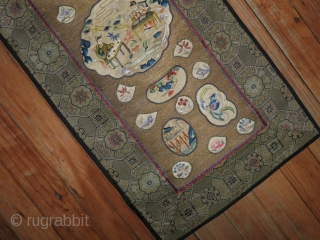 Antique Chinese Textile 1'x1'2''.  Metal Thread.  Border is probably machine.  Silk backing.  Lovely colors and subject.