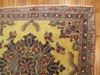 Antique yellow ground Persian Sarouk.  Size is 3'6''x3'1''.  Unfortunately it has been re sized.  Bottom end should have 4 borders and was resewn this way.