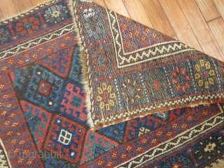 Antique Kurdish Jaff Large size 3'6''x2'4''.  3 corners slightly missing.  some lower areas in field.