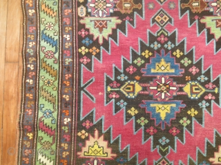 Antique Karabagh.  Crazy colors wacky design.  3'10''x12'9''  Very good condition.  No repairs re pile etc.