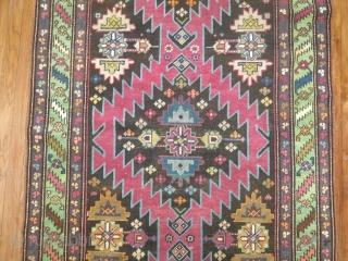 Antique Karabagh.  Crazy colors wacky design.  3'10''x12'9''  Very good condition.  No repairs re pile etc.