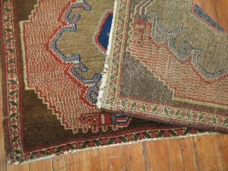 Antique Camel Persian Senneh 2'9''x1'9''.  Both ends are very slightly missing.