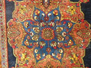 Antique Persian Halvai Bidjar.  Size 2'3''x2'6''.  One end needs a little reweaving.