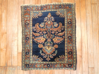 Antique Sarouk Mohajeran 1'9''x2'3''.  Both ends slightly missing top end missing a little more than the bottom.