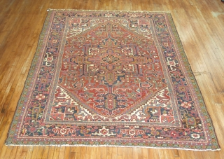 Antique Persian Heriz Size 8'2''x10'8''.  Just some minor scattered low areas.