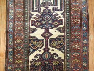 Antique NW Persian or Malayer Gallery rug,  Rare Ivory field.  LIONS.  Excellent full pile condition.  4'x9'10''