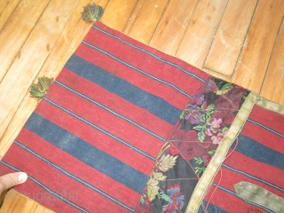 Antique Jajim textile.  Measures 1'1''x3'1''.  Told it was made with silk.  Some staining on back.