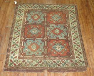 Antique Bergama rug 5'x5'10''.  Repair project rug.
