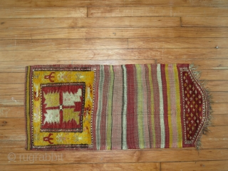 Turkish Bagface.  Unusual kilim ending which contains pile.  Excellent condition! Some synthetic colors but a rare weaving object with a pile flap!
