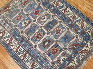Antique kazak Perpedil Size 3'8''x4'7''.  Needs some minor re piling.