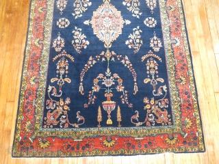 Antique Sarouk Mohajeran Size 4'3''x6'7''.  Gem in every way.