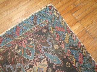 Antique NW rug.  3'8''x5'4''.  One end missing.  Lower areas.