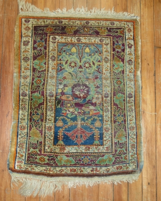 Antique Mysterious Silk Rug Size 1'9''x2'4''.  Has some low areas.  KPSI is 224.  Very decorative and unique.  Low areas.
