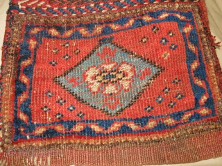 Antique Chanteh Bagface.  10''x11''.  Stain on back of kilim.