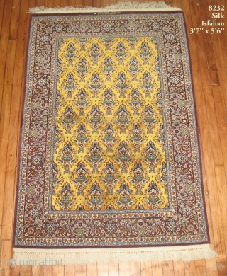 Persian Isfahan Silk rug.  Master weaver.  Measures 3'7''x5'6''.  The yellow is silk.  Mint condition