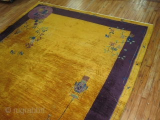 Antique chinese art deco rug. Rare Size 8'2''x9'6''.  Gorgeous Yellow.  Has some scattered low areas.  Bottom end has an area that has been slightly chewed up.