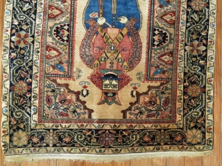 """Rare antique Persian Jozan Sarouk rug mat symbolizing king Shapur who was a Persian king dating back to medieval times. Size 2'2''x2'6''. The """"King"""" you find in most deck of  ..."""