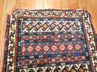 Antique Qashqai or Luri Bagface.  1'8''x1'9''.  Sides and ends obvious not in mint condition, great wool and color.