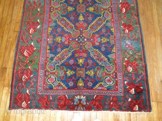 Antique Caucasian karabagh Size 4'9''x12'10''.  Jazzy, decorative and collectible.  Ends very slightly missing.  Other than that full pile and awesome.