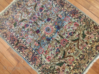 Antique Persian Kerman...  Fine Weave...  Fine colors..  Decorative.  Minor low areas.