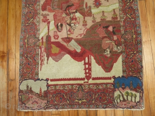 Antique Pictorial Tabriz Size 2'9''x4'4''.  Condition is excellent with full pile.  The ends need to be secured.  Very minute loose corner.  My good friend told me this is  ...