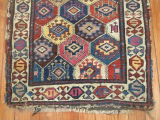 Antique Shahsavan pile rug.  Size 1'10''x1'10''.  Obvious damage tears & slits. It seems to me that some colors are not natural. Pictures speak louder than words.