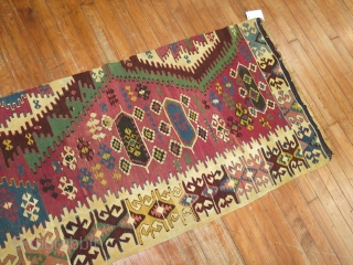 Antique Turkish Anatolian Kilim Fragment.  Size 2'3''x8'8''.  Condition is ok.  Obviously some slits and tears. Mostly to one end.  Bought it only because of quality and decorative quality.