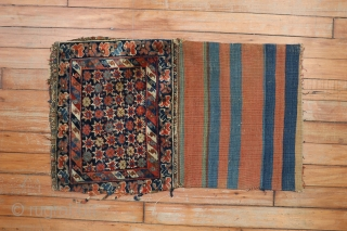 Antique Bagface with stars.  1'5''x2'3'' including kilim.  Needs some attention.