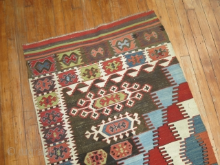Antique anatolian kilim.  Size 2'10''x13'5''.  Fine and old.  Has some repairs in field.