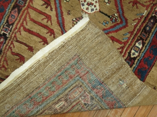 Antique MEATY Bakhshaish Camel Hair runner 3'4''x6'10''.  Fantastic piece.  Great pile.  Minor old repiles found.  Just a few..  Rug is a bit wonky.
