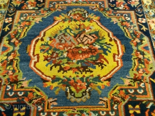 """Antique Bakhtiari runner in excellent condition. All wool and saturated natural dyestuff. Approximately 3'8"""" X 13' 10"""" = 112cm X 422cm."""