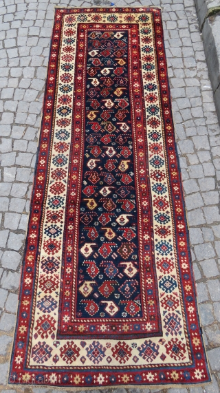 Caucasian Talish aria Boteh rug Amazing wool and very nice colors all original full pile size 2,95 x 1,04 cm Circa 1880-1890