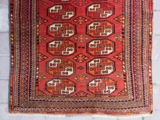 Turkoman small arabache rug wonderful colors and very good condition all original size 1,17x93 cm Circa 1900-1910