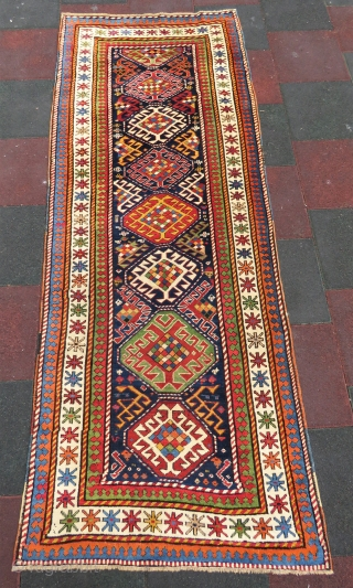 Genche Kasak rug wonderful colors and very good condition all original size 3,72x1,06 cm and Circa 1870-1880